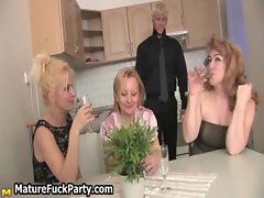 Group of horny old mature housewives