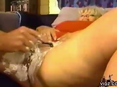 Mature blonde bitch gets hairy pussy shaved and eaten