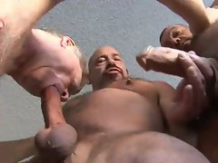Old gay studs enjoy a hot cock sucking threesome