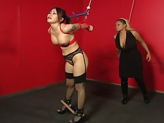 Asian babe tied up and slaved by her master !