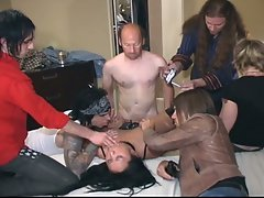 Horny dudes fucking chubby slut inside hotel room