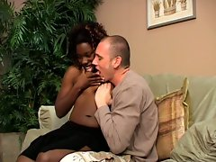 Ebony chick loves to stuff dudes tight white ass with strapon dildo