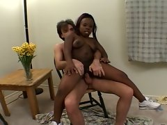 Ebony midget gets white cock for hardcore ride