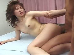 Asian cute babe get hard fucked by two dick