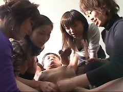 Horny japanese sluts flock to share sweet cock on couch