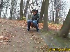 Aliya was walking in the autumn forest and she has wanted to piss....