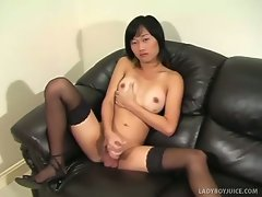 Cute and unassuming amateur ladyboy A turns up for her masturbation...