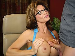 Masive busty mom strokes boys boner....
