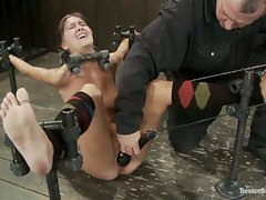 Sexy girl next door has shaved pussy and is brutally bound in a...