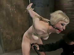 Hot Blond with PERFECT BODY, big natural tits, severely bound,...