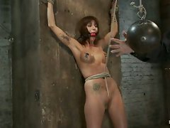 Gia DiMarco is bound and stripped, her nipples tortured.  A monstrous...