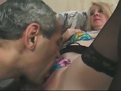 Blonde Granny in Glasses and Lace Top Stockings Fucks