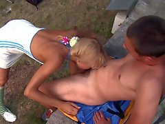 Cute leggy teen blonde Loly with bald pussy gives mouth