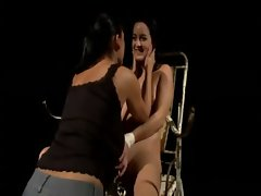 Lezdom mistress tickles and slaps her slave