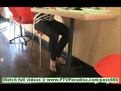 Cory cute innocent brunette teen flashing tits in public and having dinner in restaurant