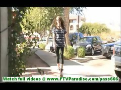 Tiffany stunning brunette with amazing body walking in public and flashing panties
