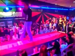 Party babes have fun with stripper