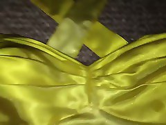 Yellow & White Ombre Satin Homecoming Dress