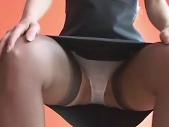 A Babe in Nylon stockings Upskirt  teasing (MrNo)