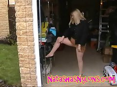 MILF Natasha In Pantyhose Outdoors Flashing