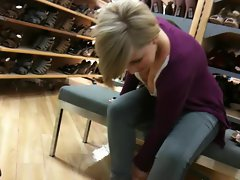 hOT bLONdE in shoe store