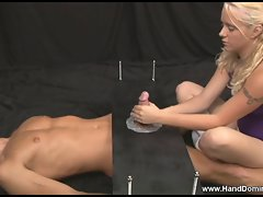 Femdom handjob princess is very demanding and mean to slave