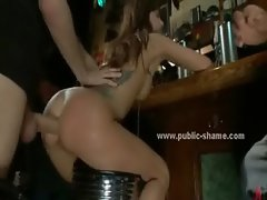 Babe tied in club with cuffs is abused