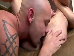 Fit bald gives a sweet rimjob