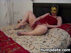 Masked couple playing with toys and fucking