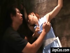 Asian slave gets tied up and punished