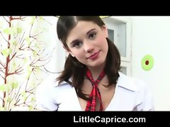 18yo schoolgirl Caprice taking off her extremely sexy uniform