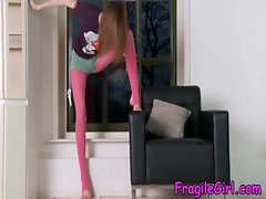 Teen teasing with her pink nylons
