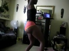 Gorgeous petite bubble naughty butt lustful ebony dancing on a webcam