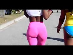 Tense naughty ebony body with a excellent backside in pinkish spandex