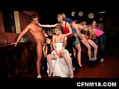 barely legal bride Sandra screws a happy CFNM stripper at her CFNM