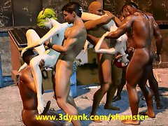 Back Alley 3D InterraciaL Gangbang and Some Furry Screwing