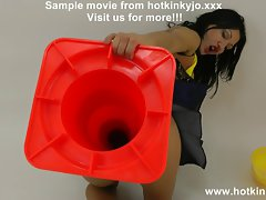 Hotkinkyjo huge traffic cone in naughty ass - extreme bum