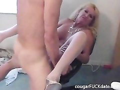 Filthy Granny puma in nylons bangs a 19 years old stud