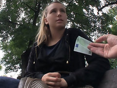 Natural light-haired Czech lass is picked up for public sex