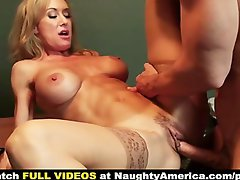 Employee earns bonus by banging his large melons boss Brandi Love on her desk