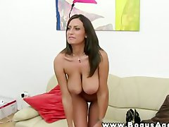 Bigbreasted dark haired does a casting