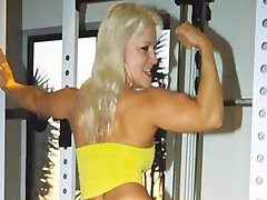 Picture Video FBB Tempting blonde Muscle BodyBuilder Screws Some Happy Chap in the Gym
