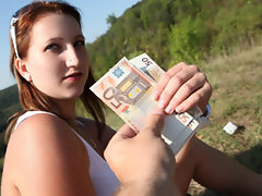 Redhead Czech amateur is talked into public sex for cash