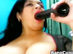 Spicy latin Cougar with huge breasts teasing