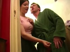 Clothed ladies make two brothers cum