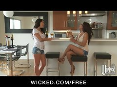 Two bi-curious Asian slutty chicks play while their men are away