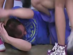 Attractive seductive teens pummel coach then tie him down and accept off his shorts