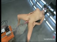 Machines banging blonds narrow pussy