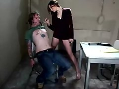 Amber rayne shoving foot into slaves mouth