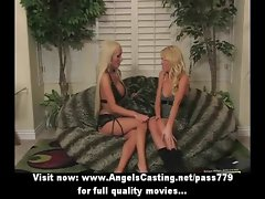 Beautiful superb tempting blonde lesbo ladies with natural hooters toying muff